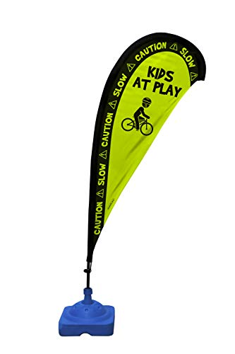 "Kids Playing Extra Large 6.4 Foot Teardrop Banner Flag Safety Sign with Fiberglass Poles and Weighted Base for Yards and Driveways -""Caution, Slow, Kids at Play"""