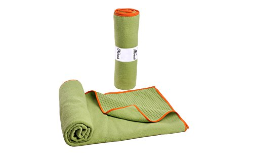 Namaste Skidless Premium Mat-size Yoga Towel with Non Slip Grip;Exercise,Fitness,Pilates,and Yoga Gear (Grass Green)