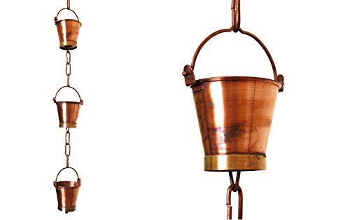 U-nitt 8-1/2 feet Pure Copper Rain Chain for Gutter: Bucket Cup 8.5 ft Length #8146 ()