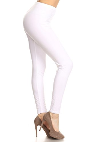 Leggings Depot Ultra Soft Basic Solid Plain Best Seller Leggings Pants (One Size (Size 0-12), White)