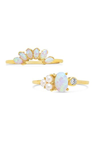 Sterling Forever - Gold Vermeil, Marquise Cut Created Opal & Bezel Set CZ Stone w/Simulated Pearls Stackable Ring Set for Women