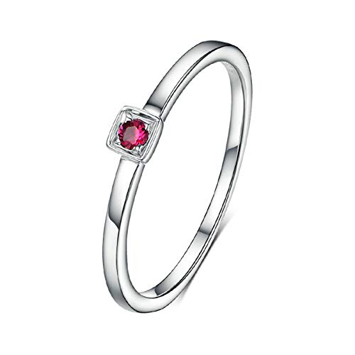 MoAndy White Gold 18K Women's Wedding Bands Statement Ring for Women Ruby 0.34ct Red Size 8.5 ()