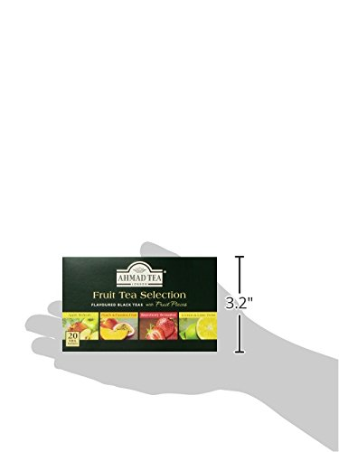 Ahmad Tea Fruit Tea Selection, 20-Count (Pack of 6) 8 Case of six boxes, each containing 20 foil-wrapped tea bags (120 total tea bags) Stimulating tea with a resonant, fruity aroma Enjoy the rare pleasure of a fine English tea