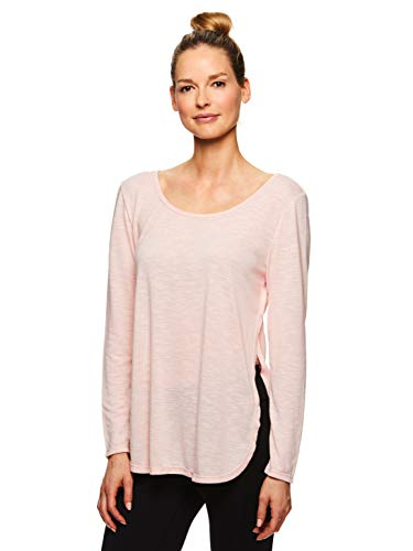 Gaiam Women's Strappy Open Back Yoga Shirt - Long Sleeve Activewear Top w/Side Slits - Gianna Lotus, X-Small
