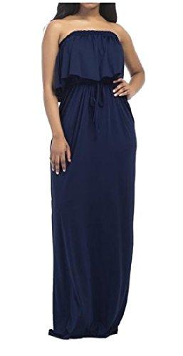 Femmes Coolred Acceptent La Taille Plus La Taille Maxi Robe Bustier Longue Solide Bleu Foncé