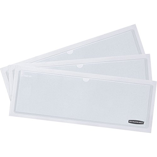 Bankers Box Adhesive Label Pockets with Inserts, Clear, 48-Pack (0034801) (Fellowes Bankers Box Labels)