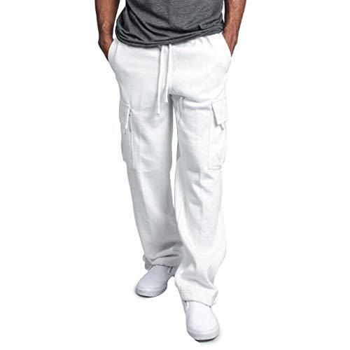 Men's Gym Fitness Workout Pants Bodybuilding Cargo Jogger Pants Chino Trousers Sweatpants Drawstring Working Pants White