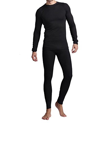 Long Johns For Men, Soft Cotton Shirt/Pants 2PC Waffle Thermal Set …(2XL, Black)