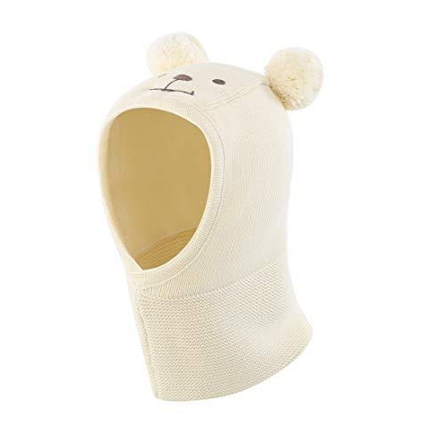 Earflap Pom Hat Cap - LLmoway Toddler Boys Girls Winter Warm Hat Kids Knit Fleece Earflap Scarf Hood Hat with Pom White