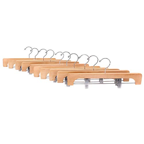 JS HANGER Heavy Duty Natural Finish Wooden Pants Hangers with Anti-rust Hook and Clips, 10-Pack