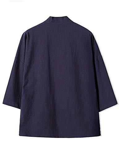 Cappotto Cappotto Cappotto Stile in HaiDean Bottone Blau Blau Blau Blau Stile Un Casual Uomo Giacche Mezza Capispalla Giacche Moderna da Outwear Cotone Vintage Folk Piega con Manica vCHq5wC