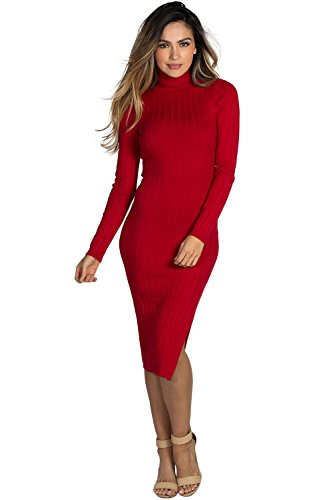 Dress Society Sweater Red Women Long Sleeve Turtleneck Babe Midi s Spice 47dxqgzwf