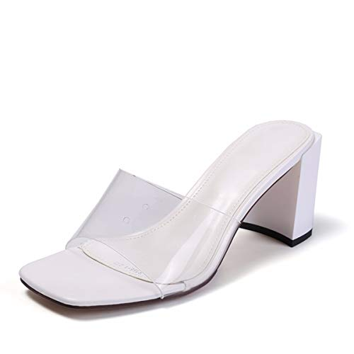 8Cm Slippers Cold Girls Summer In Black Retro Dragged Has High Thick Wear Transparent Heels Films KPHY Toes pEZ6q4ww