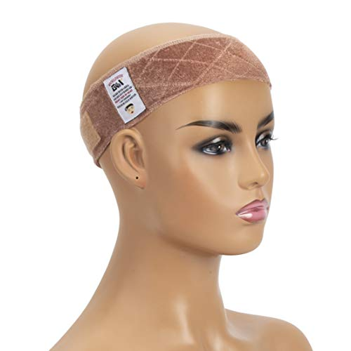 GEX Wig Grip Band Adjustable Wig Comfort Band with Adjustable Hook and Loop Fastener Non Slip Breathable Thin Head Hair Band to Keep Wig Secured and Prevent Headaches (Tan) Color