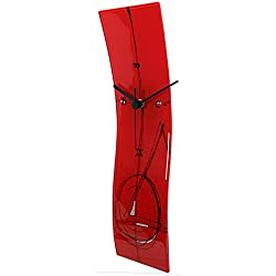 River City Clocks Red Glass Wave Clock with Red and Black Design