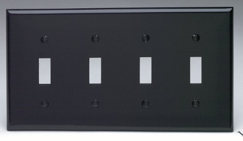 Leviton 80712-E 4-Gang Toggle Device Switch Wallplate, Standard Size, Thermoplastic Nylon, Black Four Gang Toggle