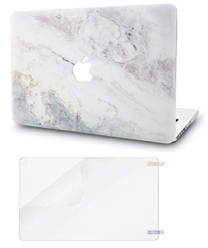 """KECC Laptop Case for MacBook Pro 13"""" (2020/2019/2018/2017/2016) w/Screen Protector Plastic Hard Shell A2289/A2251/A2159/A1989/A1706/A1708 Touch Bar 2 in 1 Bundle (White Marble 2)"""