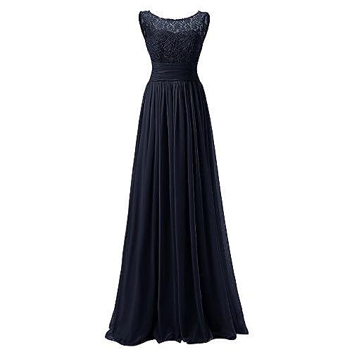 bc5e2efb5e8 Dresstells Long Prom Dress Scoop Bridesmaid Dress Lace Chiffon Evening Gown  Navy Size 8