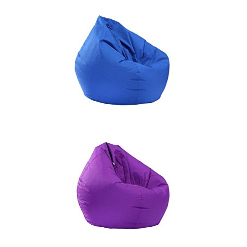 Fityle 2 Pieces Royal Blue & Purple Bean Bag Cover, Bean Bag without Filling, Kids Comfy Chair Comfortable Seating Cover, Waterproof