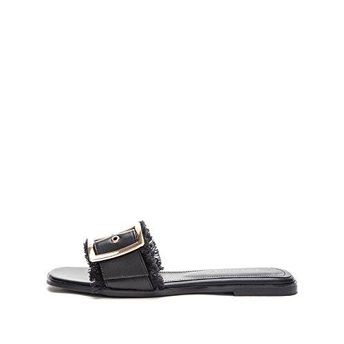 Sandali Pantofole Sandali da estivi basso a DHG moda piatti tacco casual donna basso tacco alla Nero 39 Sandali con Tacchi alti qSEtvx0
