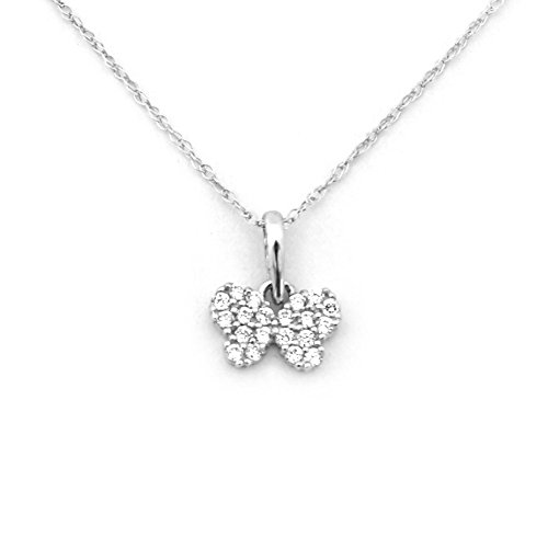 Beauniq 14k White Gold Tiny Cubic Zirconia Butterfly Pendant Necklace - 15""