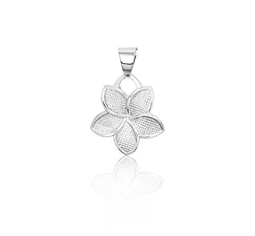 (Honolulu Jewelry Company 14K White Gold Plumeria Flower 11mm Necklace Pendant)