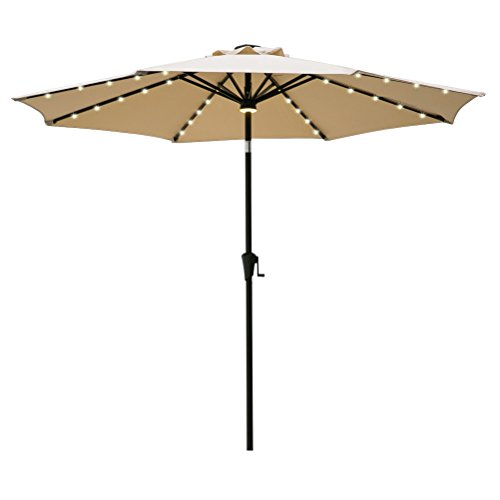 FLAME&SHADE 9ft Patio Umbrella, LED Outdoor Market Parasol with Crank Lift, Push Button Tilt, Beige Review