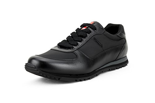 Prada Men's Calfskin Leather with Nylon Trainer Sneaker, Black (Nero) 4E2721 (US 8.5 UK 7.5) Calfskin Leather Mens Sneakers