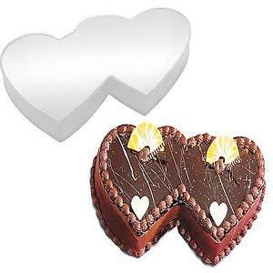 (Double Heart Shaped Cake Pan Birthday Novelty Baking Themed Cake Tin)