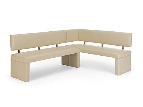Eckbank Mathis 140x180 creme Kunstleder Rücken offen
