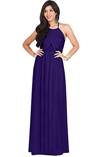 KOH KOH Plus Size Womens Long Bridesmaid Sleeveless Cocktail Evening Prom Formal Special Occasion Floor-Length Beach Wedding Party Guest A-Line Flowy Gowns Maxi Dresses, Indigo Blue Purple XL 14-16 -