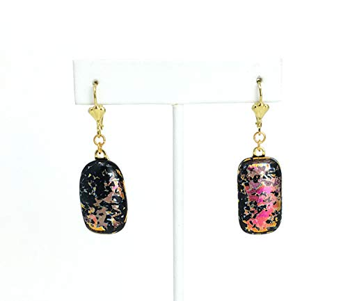 Pink Dichroic Splatter Fused Stained Glass Earrings