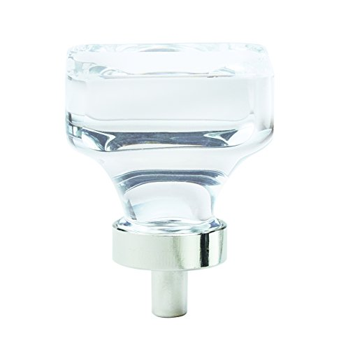 Crystal Traditional Cabinet - Amerock Glacio 1-3/8 in. (35mm) Diameter Clear Crystal/Polished Nickel Square Cabinet Knob