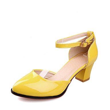 LvYuan Mujer-Tacón Robusto-Otro D'Orsay y Dos Piezas-Sandalias-Boda Vestido Fiesta y Noche-Cuero Patentado-Azul Amarillo Negro Rojo Blanco Blue