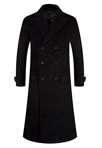 APTRO Men's Wool Trench Coat Fleece Lining Double Breasted Full Length Overcoat 1818 Black XL