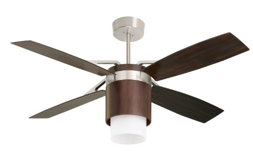 Emerson CF980MBX Tureen Indoor/Outdoor Ceiling Fan, 56-Inch Span, Brushed Steel/Midnight Bordeaux Finish, Midnight Bordeaux Blades and Opal Glass