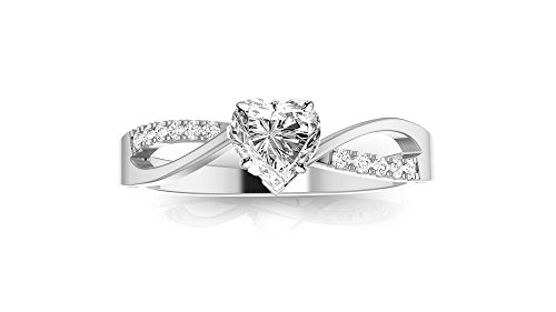 0.38 Cttw 14K White Gold Heart Cut Elegant Twisting Split Shank Diamond Engagement Ring with a 0.3 Carat H-I Color SI1-SI2 Clarity Center by Chandni Jewels