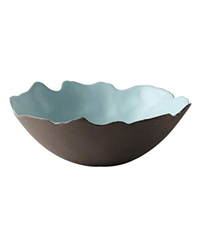 (Xiao-bowl3 Japanese Style Irregular Ceramic Bowl Tableware Salad Soup Dessert Bowl Lunch Bowl 6.8 Inch (Color : Green))