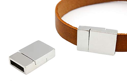 (Aaazee Magnetic Clasps for Bracelet Making Leather Strip Glue in Silver Plated 10x3mm Hole 5 Pieces)