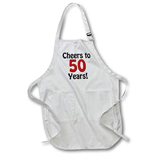 3dRose apr/_193581/_2 Cheers to 50 Years Red Medium Length Apron with Pockets 22 by 24