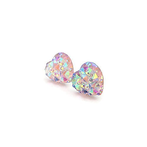 Sparkly Heart Shaped Earrings on Plastic Posts, 10mm Pale Pink Iridescent