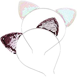 Beaupretty 4pcs orejas de gato diadema pelo brillante aros Bling Hairband para niñas niños (rosa, rosa cada 2 piezas)