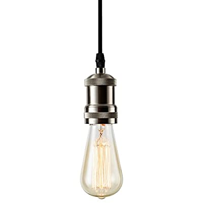 Pendant Light, Csinos Rope Light Fixture 1-light Socket Pendant Light Fixture with Adjustable Black Rope Cord