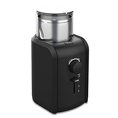 TTLIFE Electric Coffee Bean Grinder, Professional High Power motor with Grind Size, Cup Selection, Removable Stainless Steel Cup for easy cleaning, Cord Storage System, Herbs & Grains, Grinds Nuts, Christmas gifts for men