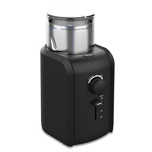 ee Bean Grinder, Professional High Power motor with Grind Size, Cup Selection, Removable Stainless Steel Cup for easy cleaning, Cord Storage System, Herbs & Grains, Grinds Nuts, Christmas gifts for men ()