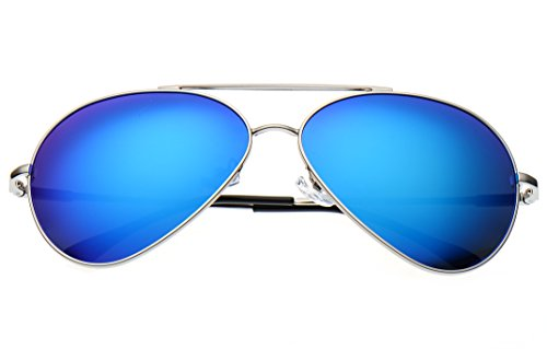 1059c1c63e LUENX Large Aviator Sunglasses Polarized for Men   Women with Case - 400 UV  Ice Blue