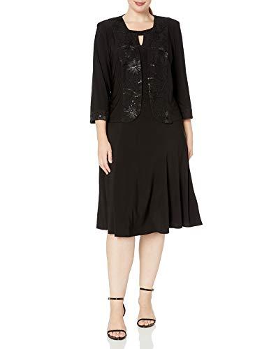 Maya Brooke Women's Embellished Sequin Trim Neck Cut Out Jacket Dress, Black, 12