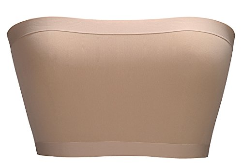 BRABIC Women's Bandeau Bras Tube Top Stretchy Strapless Seamless Pack of 2 (One Size, Beige)