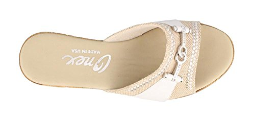 Wedge Women's Heel Lynette White Onex Sandals Silver Mid BranaZWp