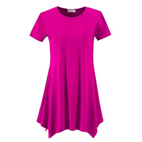 Topdress Women's Loose Fit Swing Shirt Casual Tunic Top Leggings Fuchisa - Top Blouson Tunic